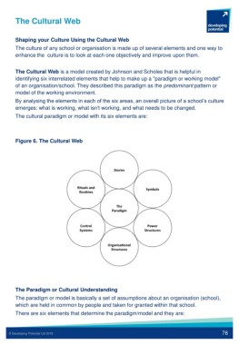 The Cultural Web Shaping Your Culture Using The Cultural Web The Culture Of Any School Or Organisation Is Made Up Of Several Elements And One Way To Enhance