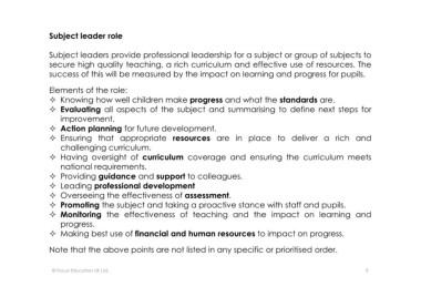 Page 9 - Microsoft PowerPoint - Subject Leader Handbook