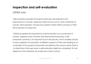 Page 10 microsoft powerpoint writing a self evaluation and inspection and self evaluation ofsted note self evaluation provides the basis for planning development and improvement in schools maxwellsz