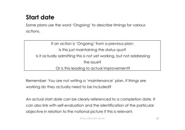Page 87 microsoft powerpoint writing a self evaluation and start date some plans use the word ongoing to describe timings for various actions if an action is ongoing from a previous plan is this just maxwellsz